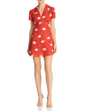 Floral-Print Notch-Lapel Dress, Rust