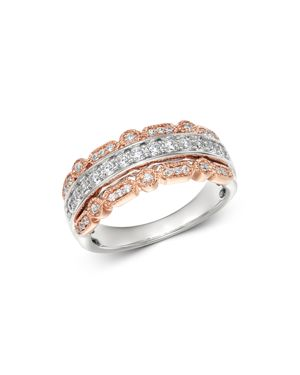 Bloomingdale's Diamond Three Row Band in 14K White and Rose Gold, 0.50 ct. t.w. - 100% Exclusive