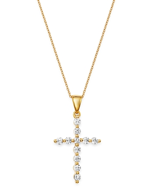 Bloomingdale's Diamond Large Cross Pendant Necklace in 14K Yellow Gold, 0.50 ct. t.w. - 100% Exclusive