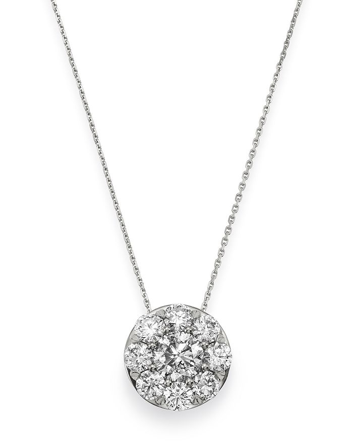 Bloomingdale's DIAMOND CIRCLE LARGE PENDANT NECKLACE IN 14K WHITE GOLD, 1.0 CT. T.W. - 100% EXCLUSIVE