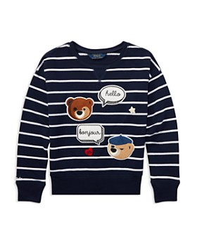 Ralph Lauren - Girls' Striped Polo Bear Sweater with Chenille Patches - Big Kid
