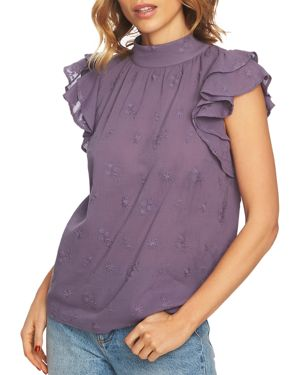 1.state Embroidered Flutter-Sleeve Top