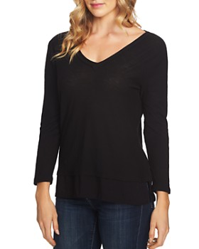 VINCE CAMUTO - V-Neck Mixed Media Top