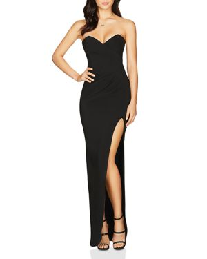 NOOKIE Bisous Strapless Sweetheart Gown in Black