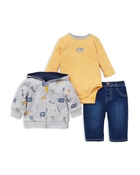 Little Me - Girls' Jungle Animal-Print Hoodie, Striped Elephant Bodysuit & Jeans Set - Baby