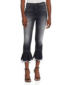 MOTHER - Cha Cha Distressed Ruffle-Hem Cropped Flared Jeans in Leave the Light On