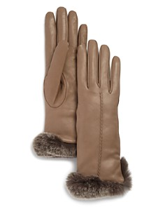 Bloomingdale's - Rex Rabbit Fur-Trim Leather Gloves - 100% Exclusive