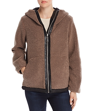 Vince Camuto Hooded Faux Fur Zip-Front Teddy Jacket