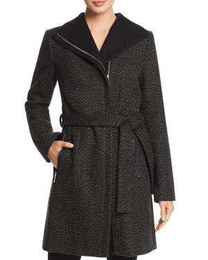 T TAHARI Belted Asymmetric Zip Tweed Coat in Charcoal