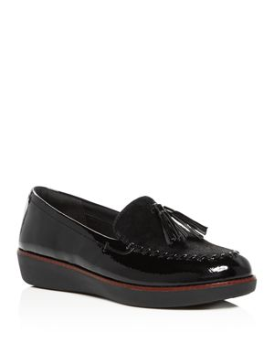 Petrina Genuine Calf Hair Loafer, Black Faux Leather