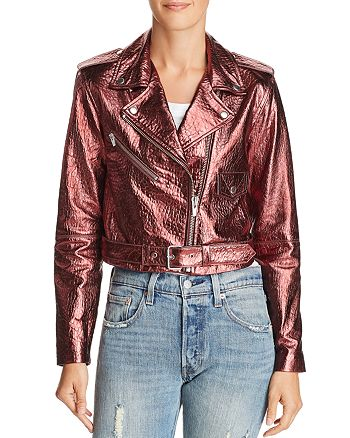 Veda - Baby Jane Metallic Leather Moto Jacket