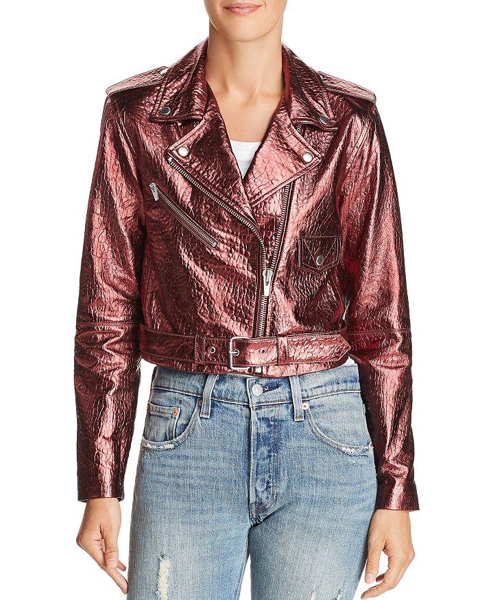 Veda - Baby Jane Metallic Leather Moto Jacket