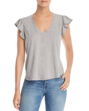 LA VIE REBECCA TAYLOR Washed Texture Jersey Tee in Grey Heather