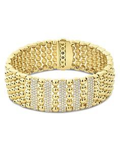 LAGOS - 18K Yellow Gold Caviar Gold Five Station Pavé Diamond Statement Bracelet