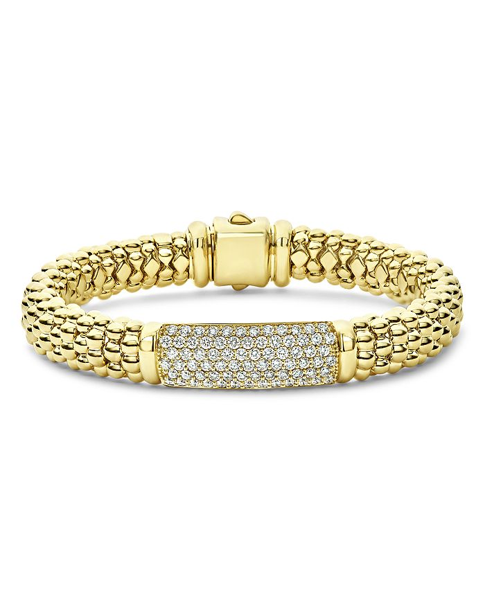LAGOS - 18K Yellow Gold Caviar Gold Pavé Diamond Bead Bracelet