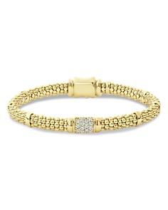 LAGOS - 18K Yellow Gold Caviar Small Diamond Slim Station Bracelet