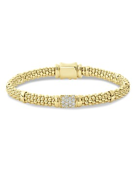LAGOS - 18K Yellow Gold Caviar Small Diamond Slim Station Bracelet