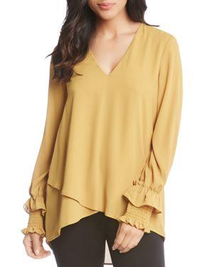 Smocked Sleeve Crossover Top, Mustard