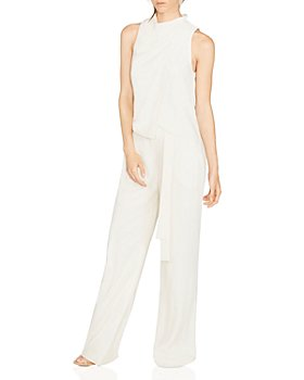 HALSTON - Sleeveless Cowl-Neck Draped Jumpsuit