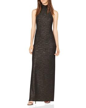 HALSTON HERITAGE - Sleeveless Metallic Knit Gown