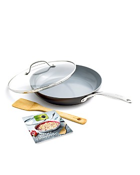 "GreenPan - Valencia Pro 11"" Ceramic Nonstick Covered Frypan w/ Bamboo Turner & Mini Cookbook"