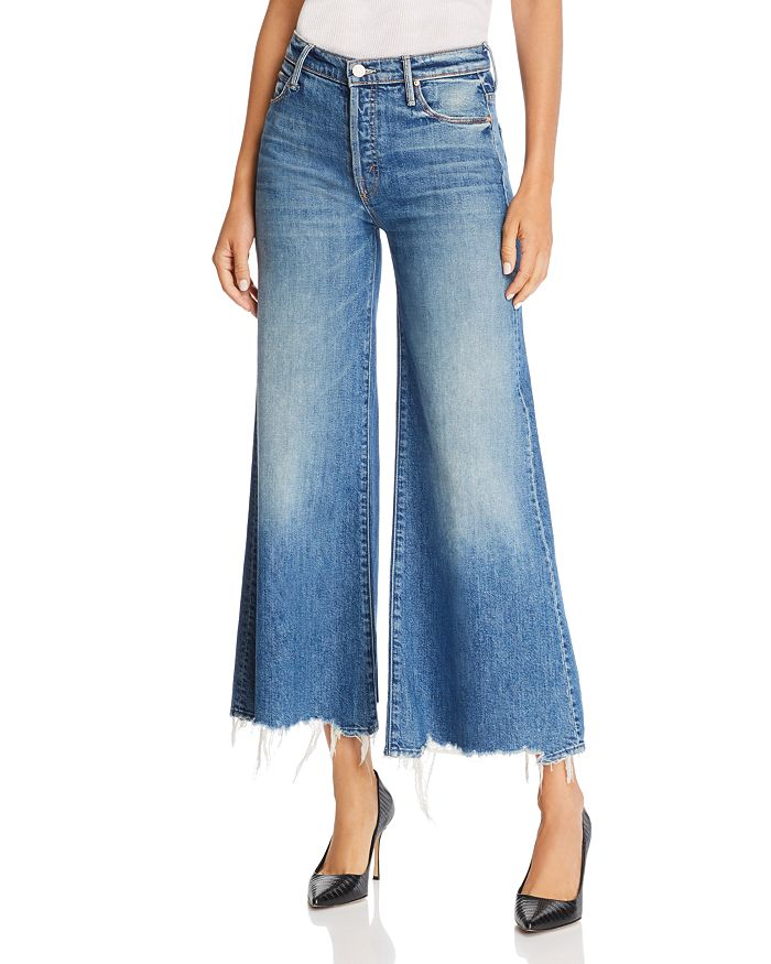 MOTHER - The Stunner Roller Ankle Chewed-Hem Wide-Leg Jeans in Be Careful What You Pray For