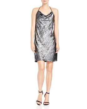 HALSTON HERITAGE - Sleeveless Metallic Slip Dress