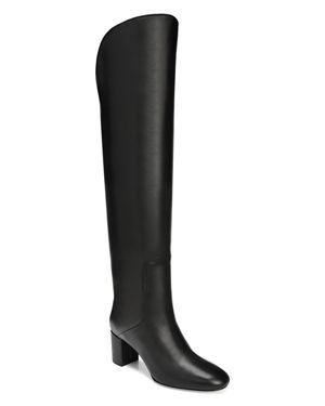 Via Spiga Women's Nair Almond Toe Leather Mid-Heel Boots