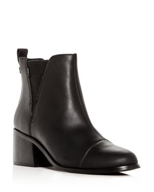 TOMS Women'S Esme Leather Block-Heel Booties in Black Leather