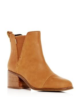 TOMS - Women's Esme Leather Block-Heel Booties