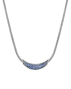 """JOHN HARDY - Sterling Silver Gold Classic Blue Sapphire Arc Adjustable Necklace, 18"""""""