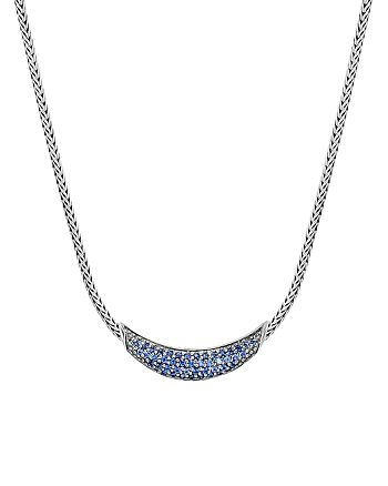 JOHN HARDY - Sterling Silver Gold Classic Blue Sapphire Arc Adjustable Necklace, 18""