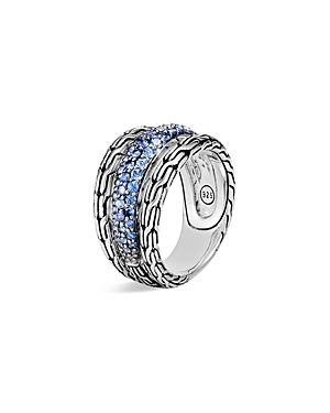 John Hardy STERLING SILVER CLASSIC CHAIN BLUE SAPPHIRE RING