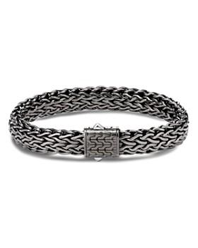 John Hardy - Sterling Silver Classic Chain Matte Black Rhodium Wide Flat Chain Bracelet
