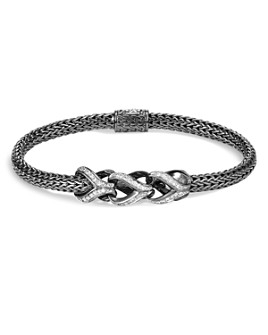 JOHN HARDY - Sterling Silver Classic Chain Pavé Diamond Slim Bracelet with Black Rhodium - 100% Exclusive