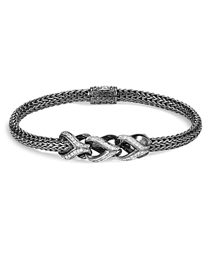 John Hardy Sterling Silver Classic Chain Pave Diamond Slim Bracelet with Black Rhodium - 100% Exclusive-Jewelry & Accessories