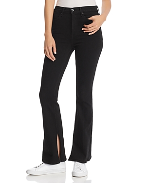 rag & bone/Jean Bella Slit-Hem Flared Jeans in Black