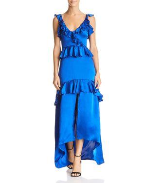 KARINA GRIMALDI Andrea Ruffled High/Low Gown in Royal