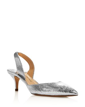 PAUL ANDREW Rhea Distressed Leather Slingback Pumps - Silver Size 9.5