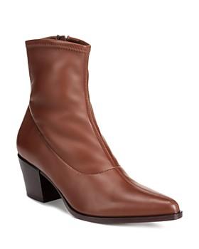 Vince - Women's Hayek Stretch Leather Block Heel Booties