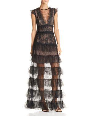 BRONX AND BANCO Lolita Illusion Lace Gown in Black