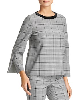 Marella - Azzorre Glen Plaid & Houndstooth Slit-Cuff Top