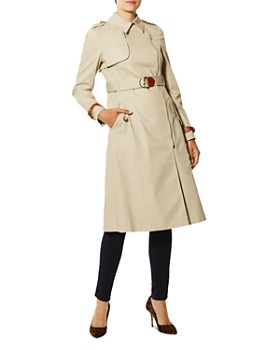KAREN MILLEN - Zip-Front Long Trench Coat