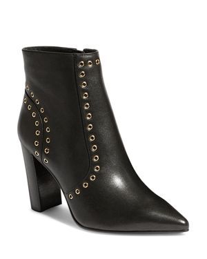Women'S Eyelet Pointed Toe Leather Stacked Heel Boots in Black