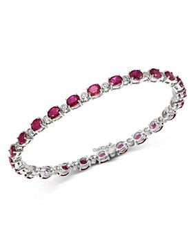 Bloomingdale's - Ruby & Diamond Tennis Bracelet in 14K White Gold - 100% Exclusive