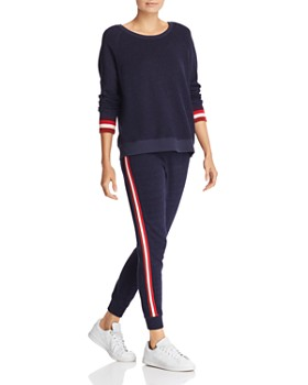 Sundry - Striped-Cuff Sweatshirt