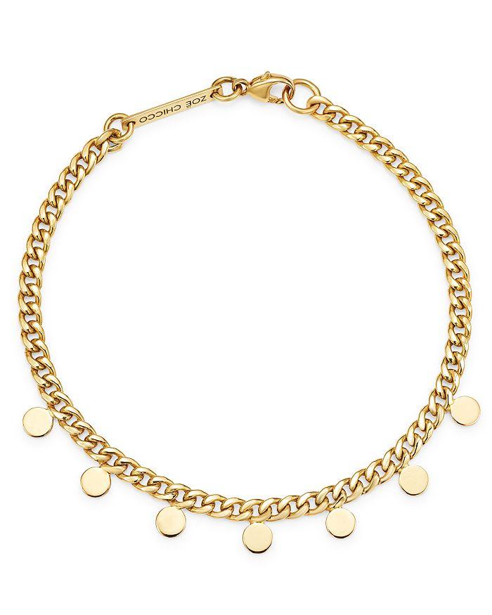 Zoë Chicco - 14K Yellow Gold Itty Bitty Dangling Discs Curb Chain Bracelet
