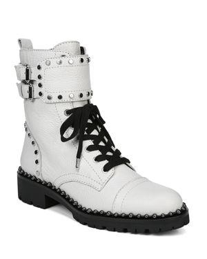 SAM EDELMAN Women'S Jennifer Studded Leather Combat Booties in Bright White