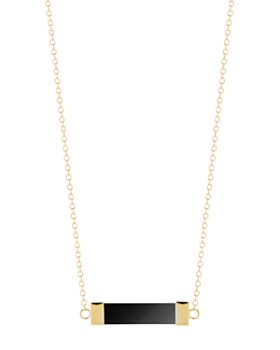 """MATEO - 14K Yellow Gold Black Onyx Bar Cable Necklace, 16"""""""