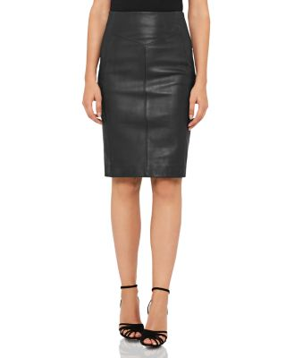 Megan Leather Front Skirt by Reiss
